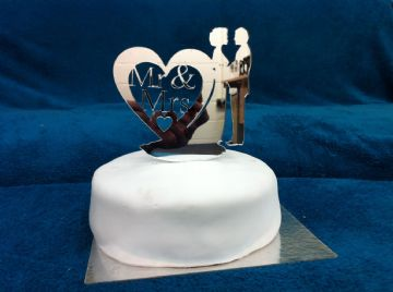 Heart Shaped Dress Wedding Cake Topper 13cm x 13cm - choose from Mirror, Clear or Black (CT03)